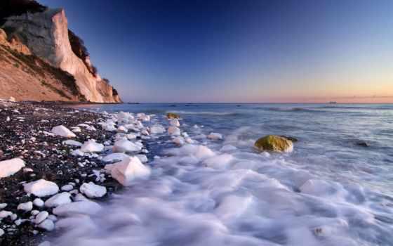 море, скалы, берег, камни, белые,