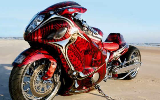 спортбайк, тюнинг, аэрография, design, suzuki, red, chrome, hayabusa, мотоциклы, песок, gsx,