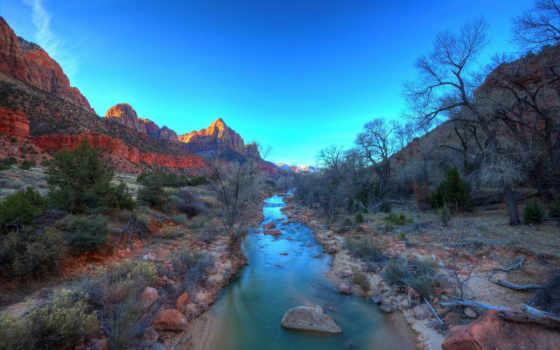 national, park, zion, река, virgin, landscape, озеро, пейзажи -,