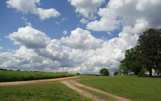 поле, дорога, landscape, забор, дома, home,
