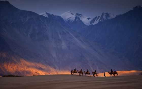 пустыня, ночь, mountains, landscape, природа, горы, гора, закат, high, caravan,