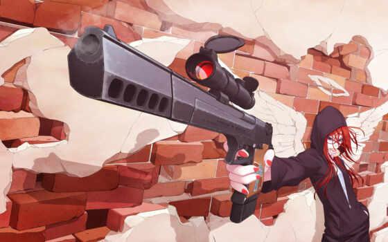 anime, anim, png, винтовка, oruzhie, risunok, chica, cartoon, джин, девушка, пістолет