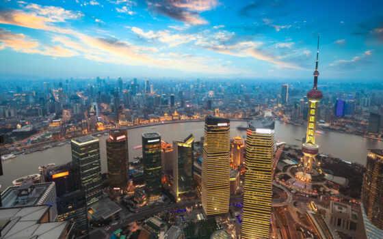 город, китаянка, shanghai, река, мегаполис, china, house, облако, небо, building