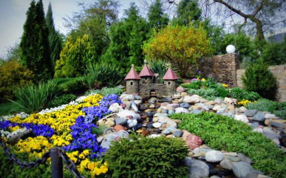 весна, castle, fountain, цветы, природа, park, интерьер,