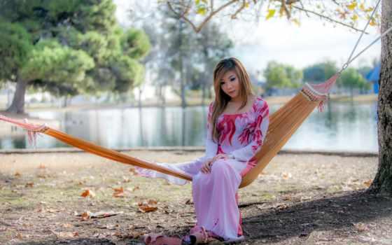 asian, девушка, гамак, модель, женщина, платье, сквозь, sitting, see, women,
