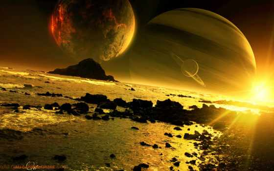 море, закат, planet, скалы, art, спутники, qauz, cosmos,