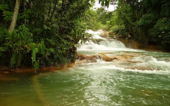 водопады, azul, agua