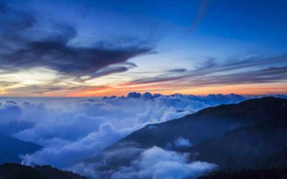 горы, облака, небо