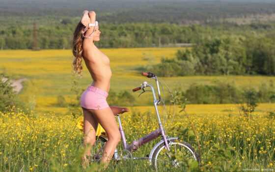 девушка, велосипед, ножки