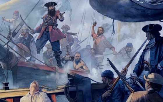 пираты, борода, черная, edward, pirates, тич, art, год,
