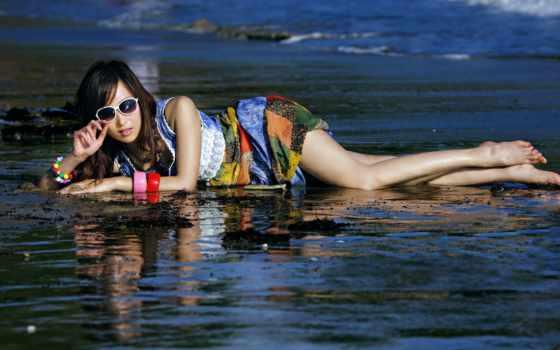 море, девушка, платье