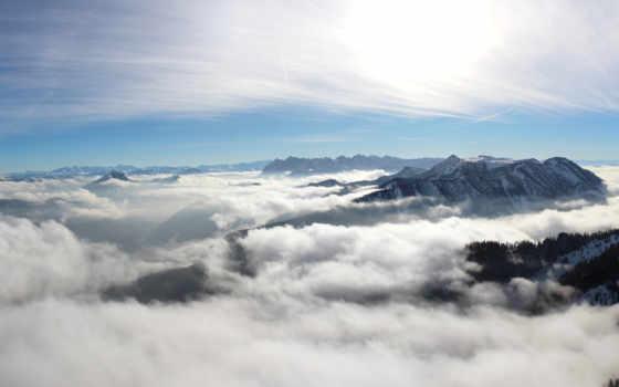 wolken, плакат, berge