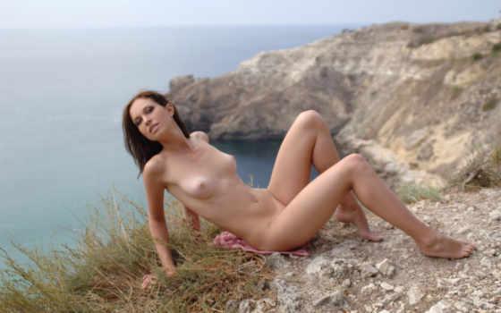 , девушка, голая, грудь, природа, шалава