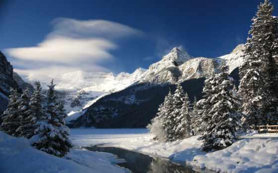озеро, louise, снег, banff, канадский, national, park, winter, дек, гор, лесов,