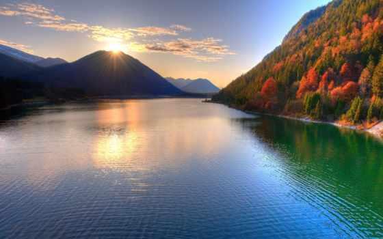 рассвет, горы, горах, река, панорамные, небо, виды, осень, банка, без,