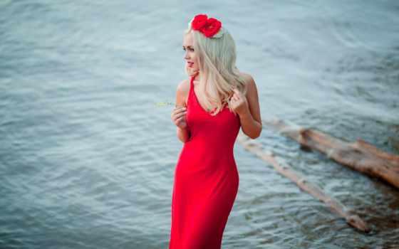 девушка, цветами, blonde, платье, меня, красивая, sexy, отпускай, melkiy,