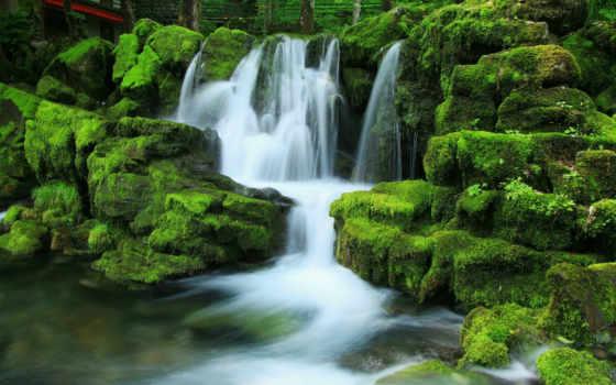 водопад, природа, камни, водопады, мох, live, рисунки, природы, wallpaperводопа,