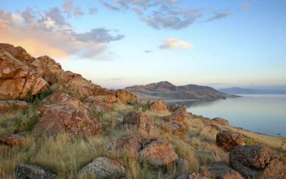 остров, state, park, antelope, utah, озеро, фото, great,