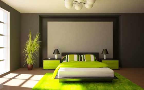 спальня, спальни, design, тонах, зелёных, интерьер, зеленого, интерьере, сочетания, стиле,