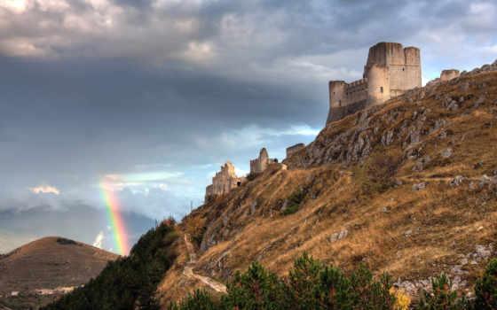 calascio, rocca, italian, страны, fortress, радуга, города, сквозь, abruzzo,