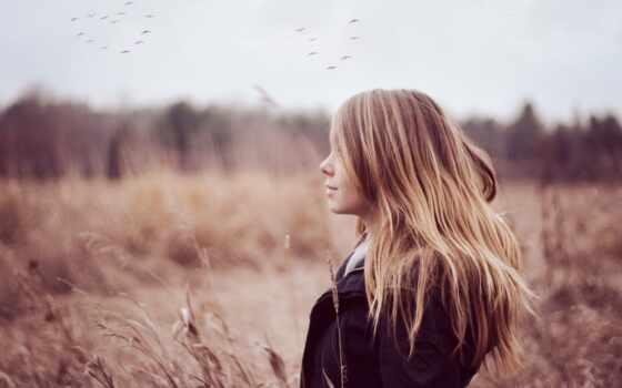 девушка, длинными, волосами