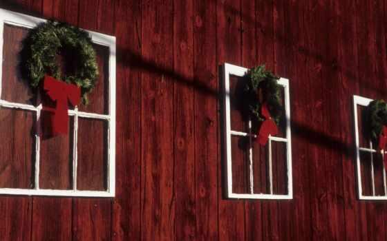 christmas, окно, качество, цветы, resolution, венок, дерево, barn, природа, праздник, hang