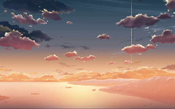 макото, синкай, обои, за, облаками, небо, makoto,