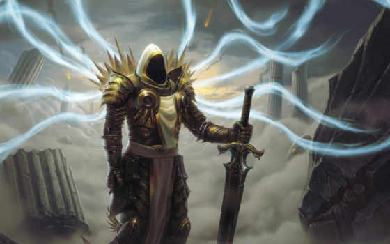 diablo, tyrael, iii, desktop, art, fantasy, swords,