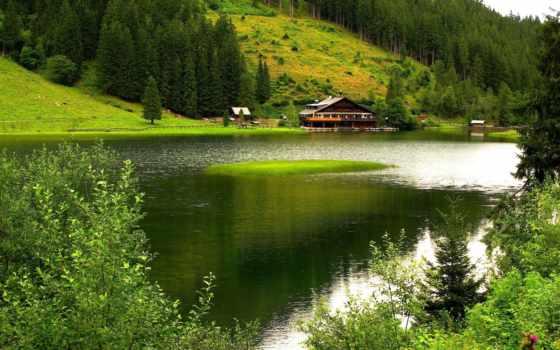 река, house, горы, природа, trees, лес, лодки, пастбище,