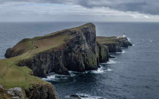 scotia, природа, neist, point, остров, skye, скалы, небо, landscape, замки, oblaka,