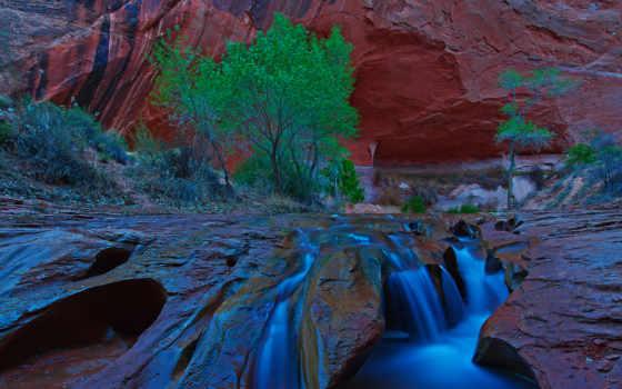coyote, gulch, utah, southern, закат, после, waterfalls, usa, falls,