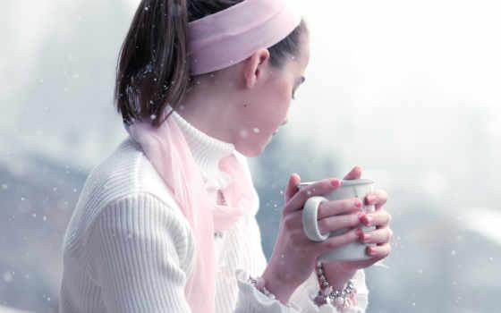 девушка, снег, кружка, coffee,