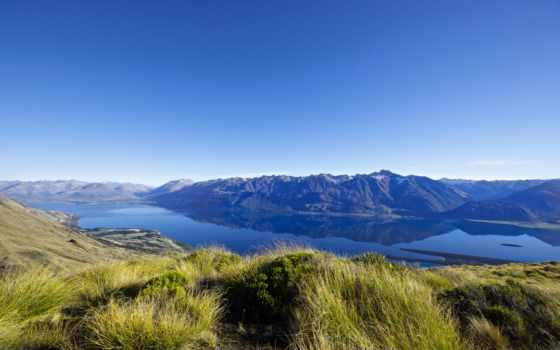 новая, zealand, горы, озеро, new, природа,