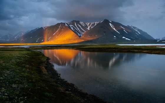 отражение, река, гора