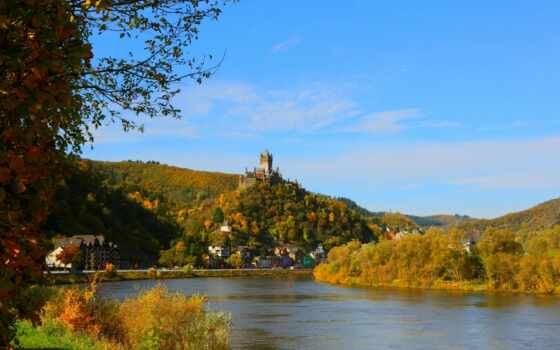 dimension, германия, город, house, река, cochem, loch, дерево, castle
