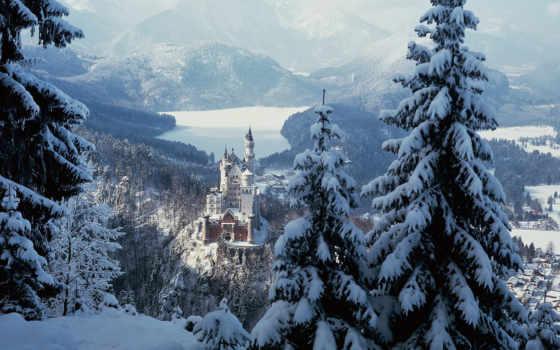 замок, зима