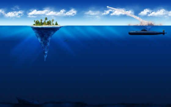 лодка, подводная, находящаяся