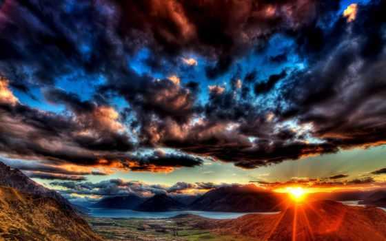 закат, шикарный, горах, свет, небо, красивые, landscape, горы, горизонт, заставки, река,