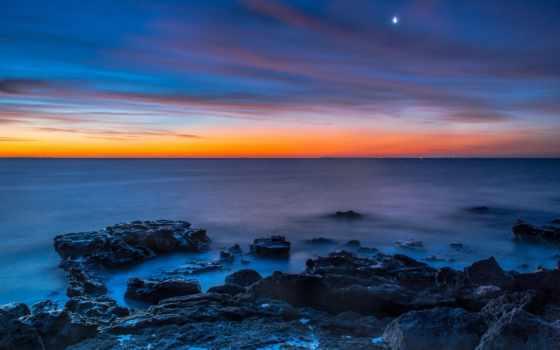море, закат, луна