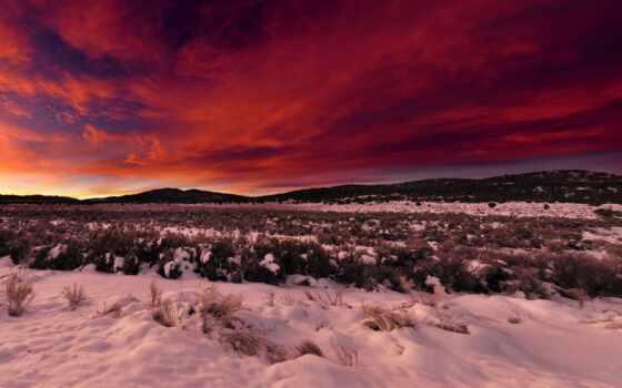 winter, снег, закат, небо, landscape, rising, oblaka, гора, поле, панорама,