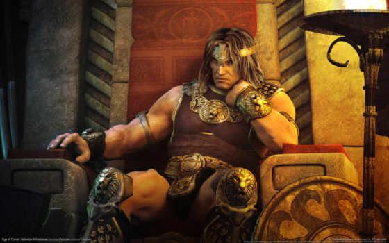 conan, age, hyborian, game, adventures, desktop, воин, игры, престол, щит, видео,