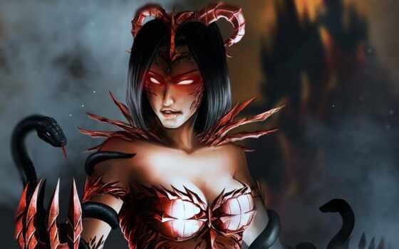 демон, девушка, snake