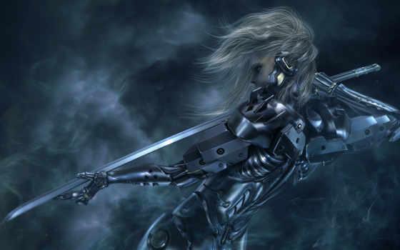 киборг, девушка, fantasy, меч, катана,