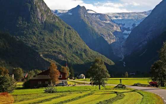 дорога, norwegian, горы, фьюране, согн, ог, стрюн,