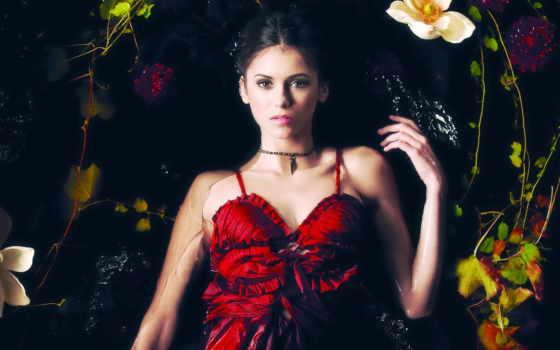 платье, красном, женщина,