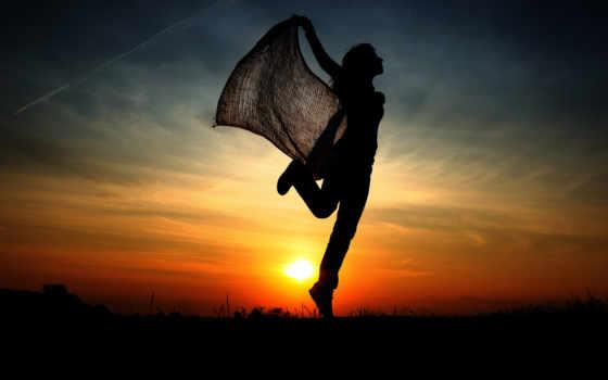 девушка, закат, силуэт, sun, силуэет, вечер, небо,