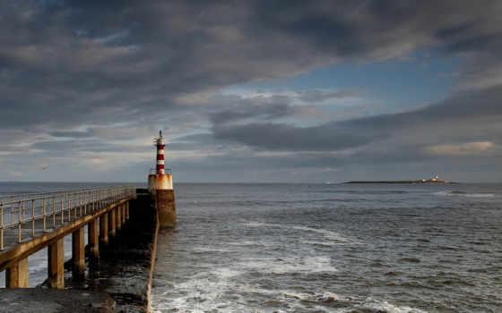,маяк, мост, море, небо