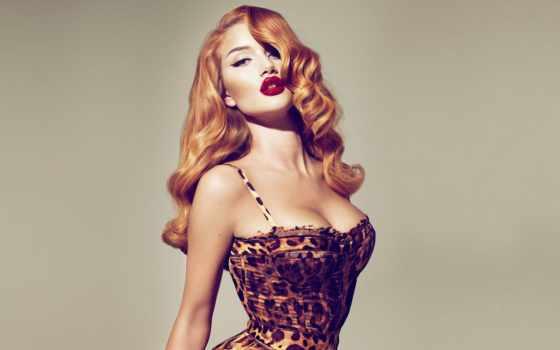 devushki, девушка, pin, рыжая, губами, красными, стиле,
