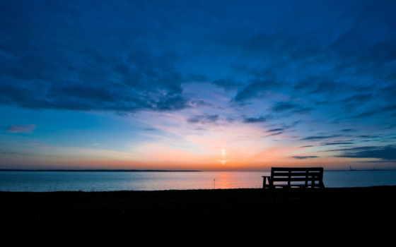 рассвет, озеро, утро