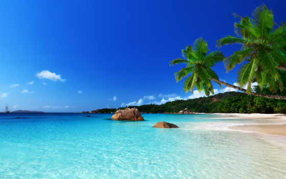 море, пляж, природа, песок, берег, пальмы, tropical, камни, небо, рай, tropics,